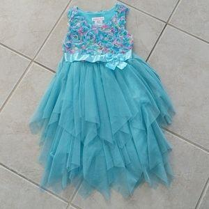 Girls size 6 aqua teal tulle rosette dress